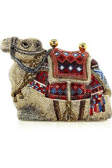 Judith Leiber|Camel Gobi fine crystal-embellished clutch|NET-A-PORTER.COM from net-a-porter.com