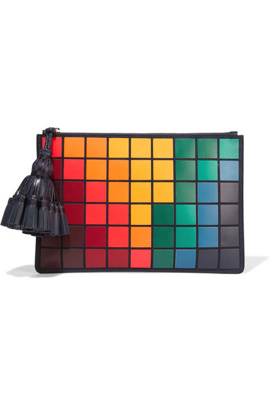 Anya Hindmarch - Georgiana Giant Pixels Leather Clutch - Midnight blue