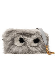 Eyes mini shearling and leather shoulder bag
