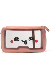 In Flight Kawaii leather-trimmed travel case