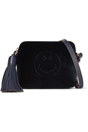 Anya Hindmarch Smiley leather-trimmed perforated velvet shoulder bag