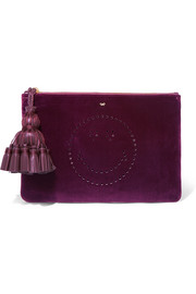 Georgiana leather-trimmed perforated velvet clutch