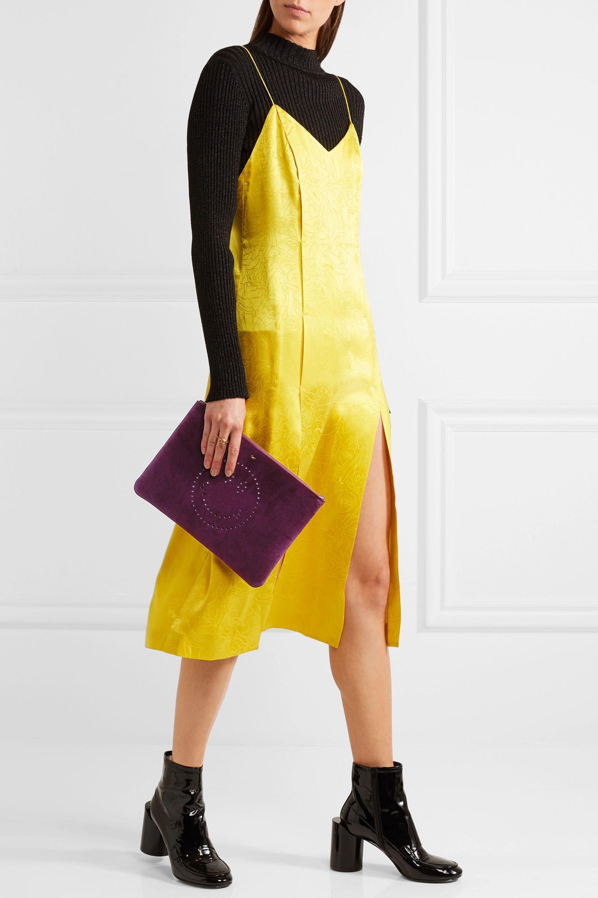 Anya Hindmarch Georgiana leather-trimmed perforated velvet clutch