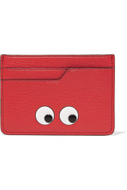 Eyes embossed textured-leather cardholder