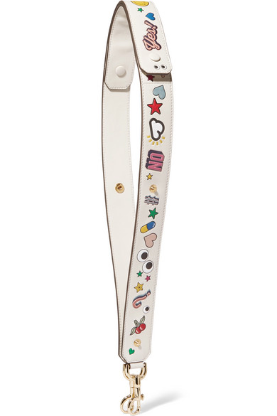 anya hindmarch female anya hindmarch all over wink stickers embossed leather bag strap white