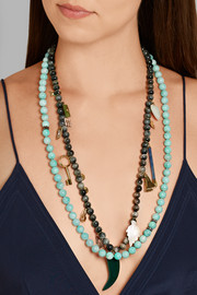 Carolina Bucci Recharmed rhodium-plated, amazonite and diamond necklace