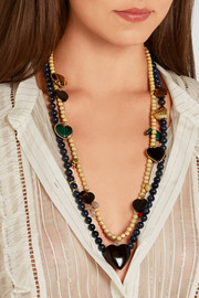 Carolina Bucci Recharmed 18-karat gold, dumortierite and sapphire necklace