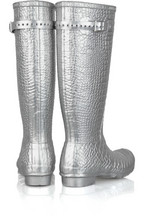 Jimmy Choo Metallic croc-stamped Wellington boots