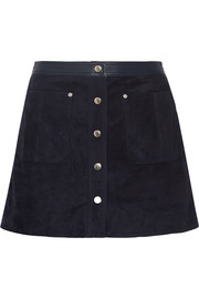 Rag & bone Siggy leather-trimmed suede mini skirt