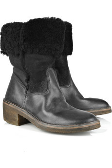 Maison Martin MargielaShearling-lined leather boots