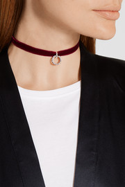 Vix oxidized silver-plated, Swarovski crystal and velvet choker