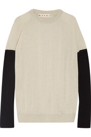 Bow-embellished color-block cashmere sweater