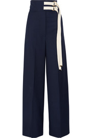 Canvas-trimmed wool wide-leg pants