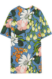 Marni Floral-print cotton and linen-blend mini dress