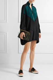 Marni Oversized color-block crinkled-shell mini dress