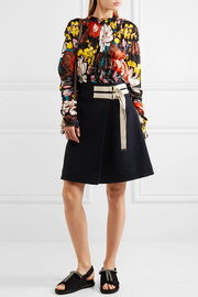 Marni Ruched floral-print silk-twill top