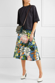 Marni Floral-print cotton and linen-blend faille midi skirt