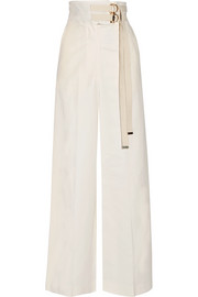 Marni Canvas-trimmed cotton-blend wide-leg pants