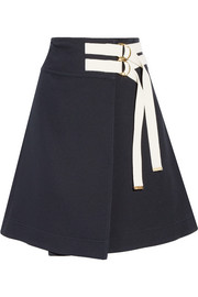 Canvas-trimmed twill wrap skirt