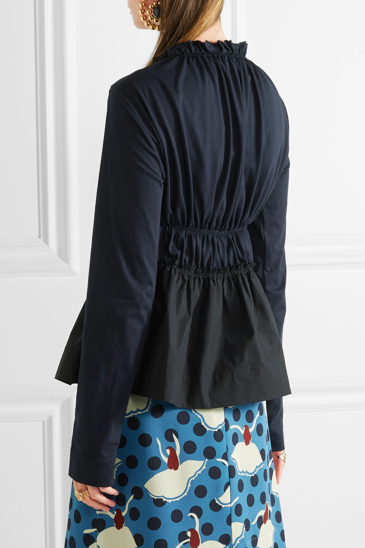Marni Gathered cotton-jersey and poplin top