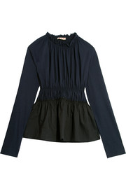 Marni Gathered cotton-jersey and poplin top