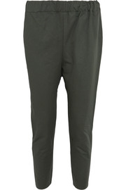 Cropped cotton and linen blend-twill pants