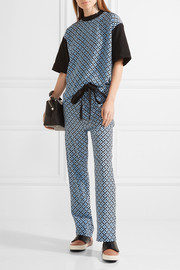 Marni Printed silk crepe de chine and cotton top