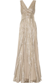 Oscar de la Renta Pleated chiffon-paneled silk-blend lamé gown
