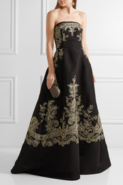Oscar de la Renta Embroidered silk-faille strapless gown