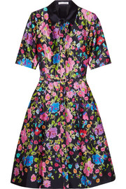 Oscar de la Renta Floral-print silk and cotton-blend satin dress