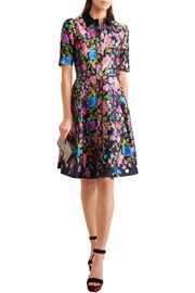 Floral-print silk and cotton-blend satin dress