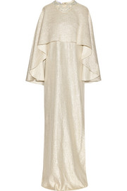 Oscar de la Renta Layered embellished metallic silk-blend gown