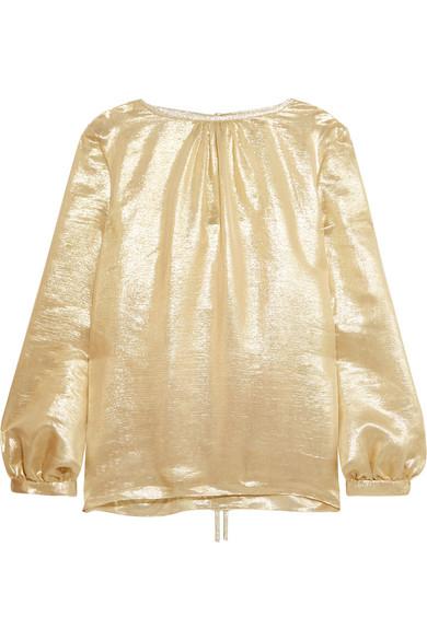 Oscar de la Renta - Silk-blend Lamé Blouse - Gold