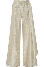 Silk-blend lamé wide-leg pants