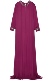 Crystal-embellished silk crepe gown
