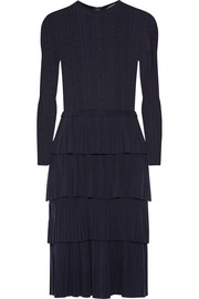 Oscar de la Renta Tiered pointelle-knit wool dress