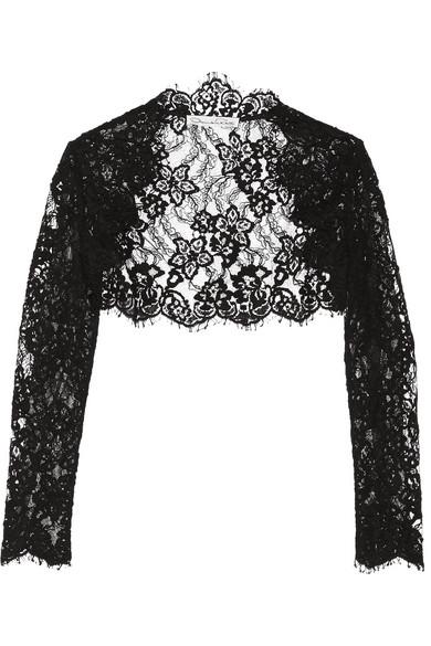 Oscar de la Renta - Cropped Cotton-blend Corded Lace Jacket - Black