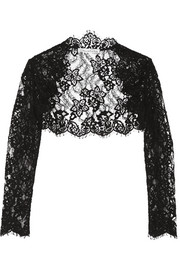 Oscar de la Renta Cropped cotton-blend corded lace jacket