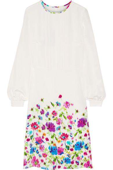 Oscar de la Renta - Pintucked Floral-print Silk-satin Dress - Ivory