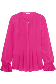 Oscar de la Renta Pleated silk-satin peplum blouse