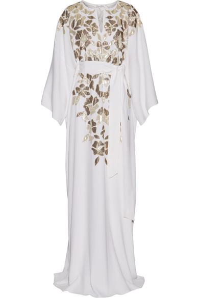 OSCAR DE LA RENTA Metallic Appliquéd Silk Crepe De Chine Gown