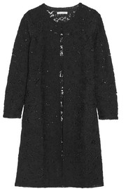 Sequin-embellished crocheted wool-blend coat