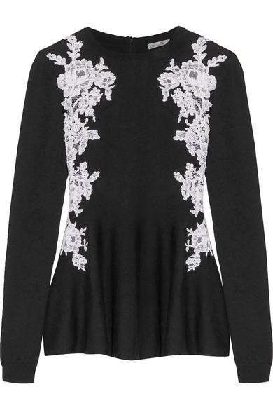Oscar de la Renta - Guipure Lace-paneled Merino Wool Peplum Sweater - Black