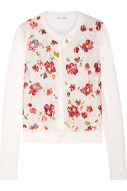 Oscar de la Renta Embellished lace-paneled wool and silk-blend cardigan