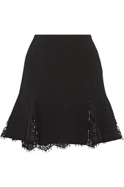 Oscar de la Renta Lace-trimmed wool-blend crepe mini skirt
