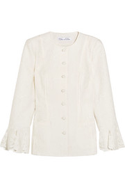 Oscar de la Renta Lace-trimmed cotton-blend cloqué jacket
