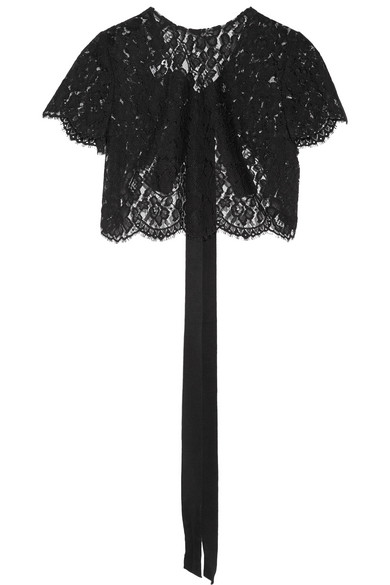 Oscar de la Renta - Cropped Corded Lace Jacket - Black