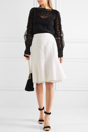Fluted lace-trimmed cotton-blend cloqué skirt