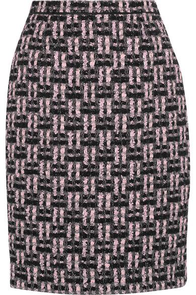 Oscar de la Renta - Metallic Bouclé-tweed Pencil Skirt - Pink