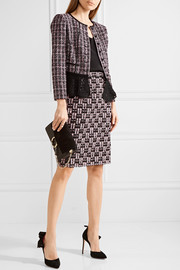 Oscar de la Renta Metallic bouclé-tweed pencil skirt